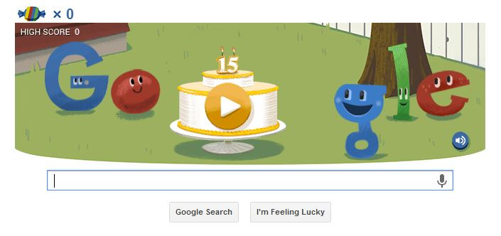 Google's 15th birthday - Happy Birthday Google