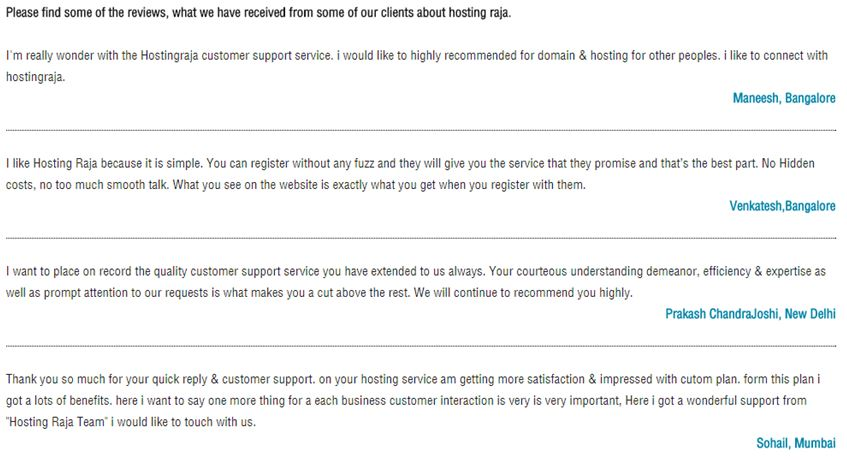 Hosting Raja Customer Reviews