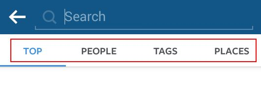 Instagram Search Option Bar