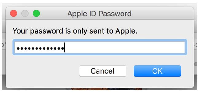 Apple ID and passcode box