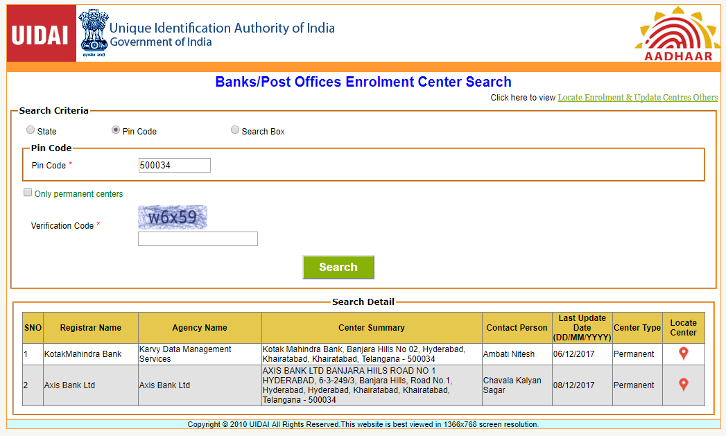 Post Offices Enrolment Center Search