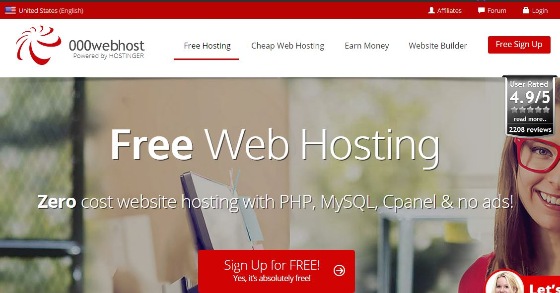 Free Web Hosting 000webhost.com Reviews