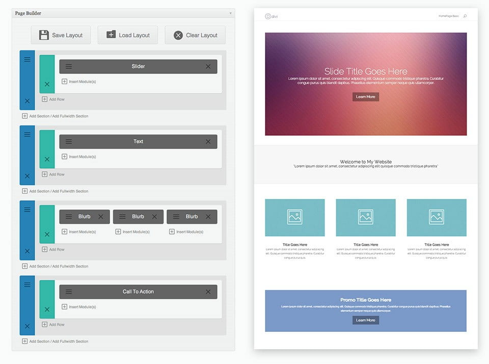 Divi custom page builder