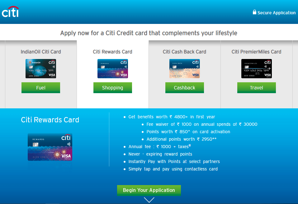 Citibank Credit Cards Types