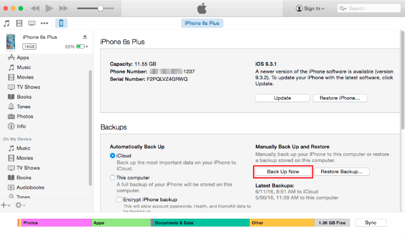 Backup iPhone Contacts to iTunes